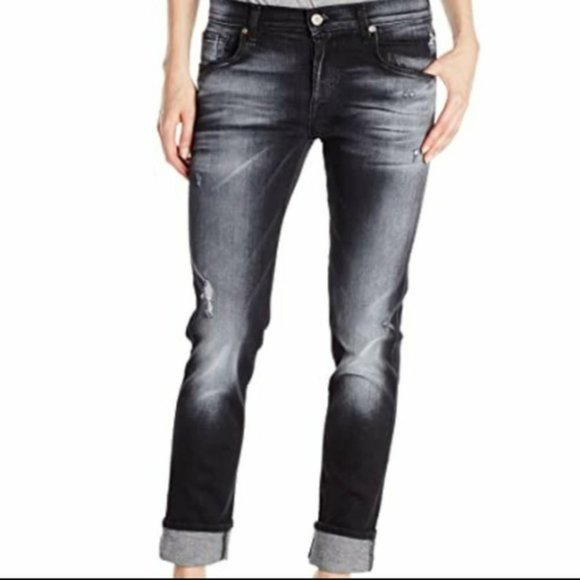 7FAMK The Relaxed Skinny Distressed Black jeans 30